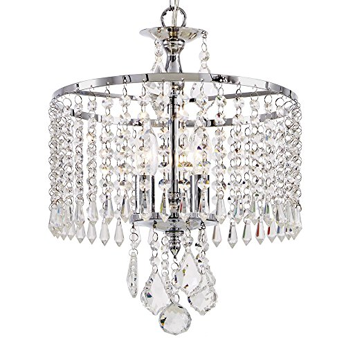 Home Decorators Collection HD-1144-I 3-Light Polished Chrome Mini-Chandelier with K9 Hanging Crystals