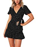 AIMCOO Women's Short Sleeve Wrap Dress Floral Print V Neck Waisted Ruffle Hem Mini Dresses Black