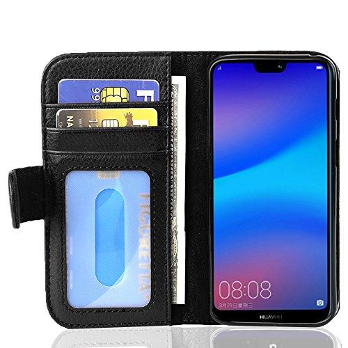 Cadorabo Funda Libro para Huawei P20 Lite en Negro ÓXIDO - Cubierta Proteccíon con Cierre Magnético e 3 Tarjeteros - Etui Case Cover Carcasa