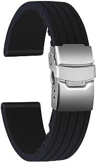 Ullchro Silicone Watch Strap Replacement Rubber Watch Band Waterproof Stripe Pattern Watch Bracelet