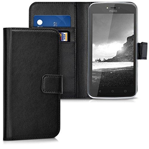kwmobile Motorola Moto C Hülle - Kunstleder Wallet Hülle für Motorola Moto C mit Kartenfächern & Stand Handytasche 12,7 cm (5 Zoll) Bookstyle Tasche schwarz