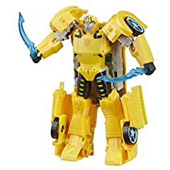 6. 75-INCH BUMBLEBEE FIGURE: Bumblebee figure is an impressive 6. 75 inches tall. POWER UP BUMBLEBEE WITH ENERGON ARMOR: Combine Ultra Class Bumblebee with Energon Armor to convert him into his powered-up mode. Pull out his Cybertronian Sabers weapon...