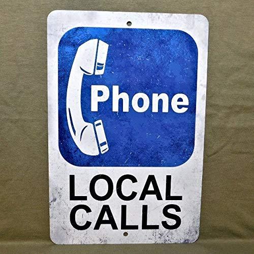 Placa de metal con diseño de texto en inglés 'No Marca', para teléfono público, moneda de pago vintage, réplica de cabina, botón giratorio para garaje, hombre cueva, placa de pared para llamadas locales