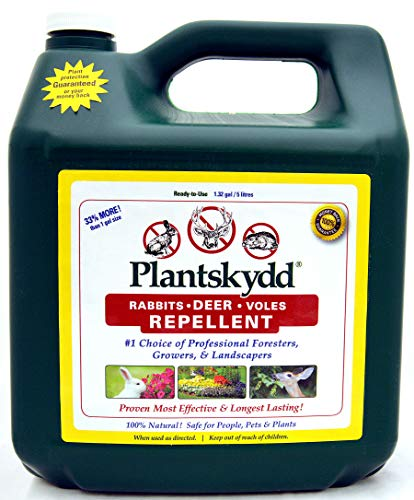 Plantskydd Animal Repellent - Repels Deer, Rabbits, Elk, Moose, Hares, Voles, Squirrels, Chipmunks and Other Herbivores; Ready to Use Liquid - 1.3 Gallon Jug (PS-5L)