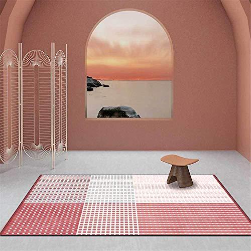 Alfombra moderna y elegante, diseño de líneas geométricas, alfombra suave, para sala de estar, dormitorio, guardarropa, mesita de noche, sala de niños, alfombra para silla, naranja, rojo-Los 4