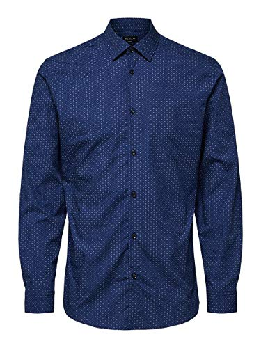 SELECTED HOMME Male Hemd Gepunktetes LMood Indigo