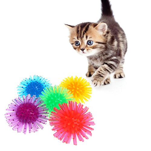 Haorw Igelbälle für Katzen, 5 Stück Für begeistertes Spielen, zufällige Farbe (S)