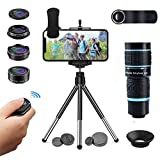 Cell Phone Camera Lens Kit for iPhone and Android, Cellphone Lenses Kit with Tripod and Shutter Remote, 5 in 1 Zoom Universal Telescope Lens+ Wide Angle Lens+ Macro Lens+ Fisheye Lens+ CPL Lens
