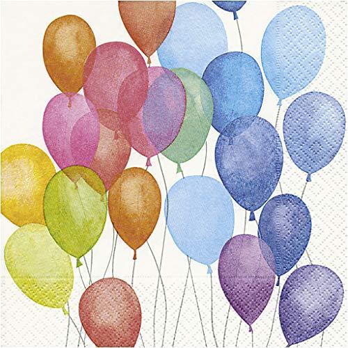 Servietten Luftballons, 20 Servietten 3-Lagig, Größe 33x33 cm, Sauerstoffgebleichter Zellstoff