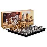 KoelrMsd Ajedrez, Juguetes de ajedrez de Oro y Plata, Juego de ajedrez magnético con Tablero de ajedrez Plegable, Juego de Juguetes de Viaje para Adultos y niños