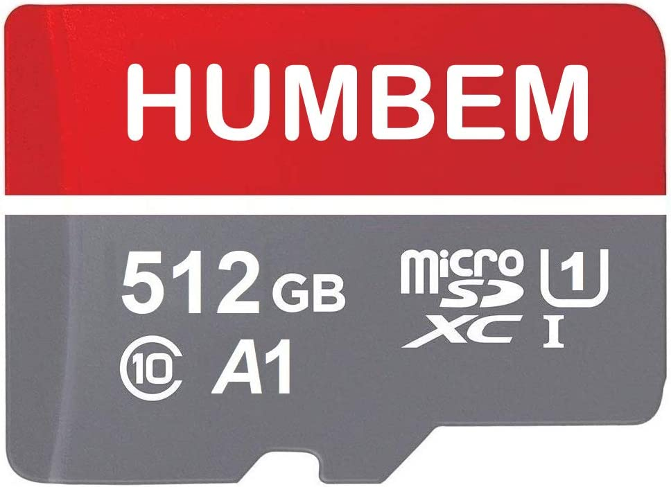 512GB Micro SD Card Memory Card with Adapter - 100MB/s, C10, U1, Full HD Available, A1, Micro SDXC UHS-I Memory Card 512GB Ultra microSDXC UHS1