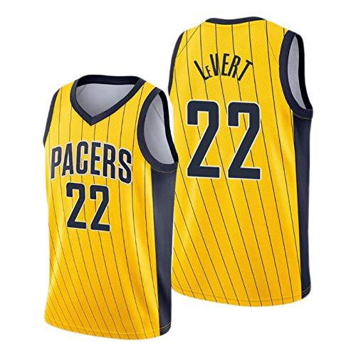 Caris LeVert - Camiseta de baloncesto (2021 New Season Pacers # 22, color amarillo, unisex sin mangas, ropa deportiva de entrenamiento (S-XXL) S