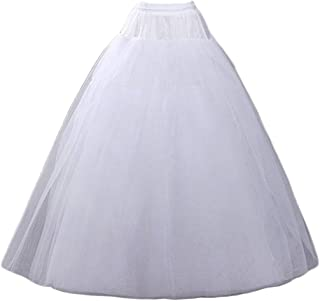 CEZOM A-line Hoopless Petticoat Crinoline Underskirt Slips Wedding Accessories MPT022 White