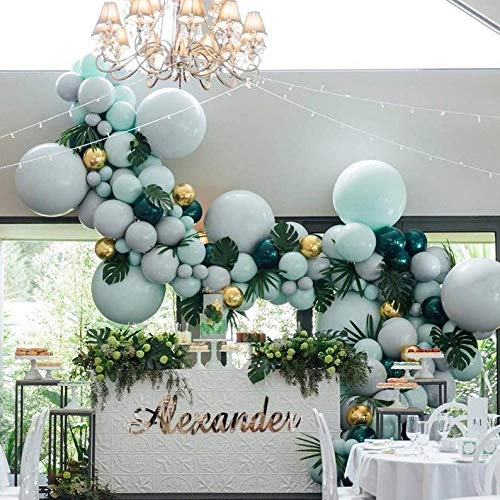 Green,Emerald Balloon Garland Arch Kit with Metallic Gold Balloon 134Pcs,great for Baby Shower,New Year's Party,Christmas,Birthday,Wedding,Tropical Party ,Graduation or Jungle Safari Theme Cactus Party Decorations.