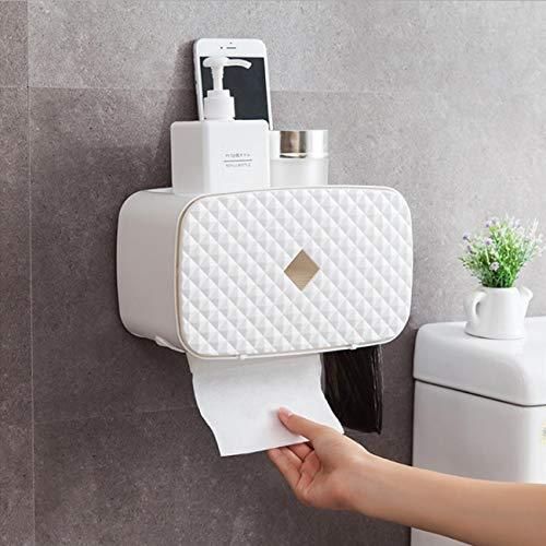 Dyna-Living Papierhandtuch Spender Ohne Bohoren Papierhandtuch Wandmontierter Tissue Boxspender Papier Handtuchhalter Hygienebeutel Phone Halter 3 in 1 Badezimmer (Weiß)