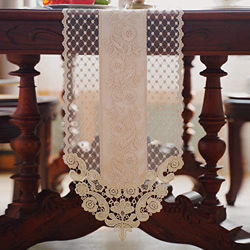 H-Best Home lace and Grey Table Runners for Dinner and Coffee, lace Table Runner, Rectangular Fabric Embroidered Table Runner, Exquisite Retro Shabby Chic, Suitable for Holiday Wedding Long Table