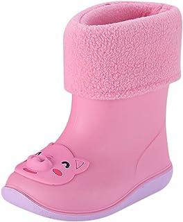 WEXCV Kinderschoenen voor jongens en meisjes, halfschacht-rubberlaarzen van natuurlijk rubber, leuke unisex plus fluwelen ...