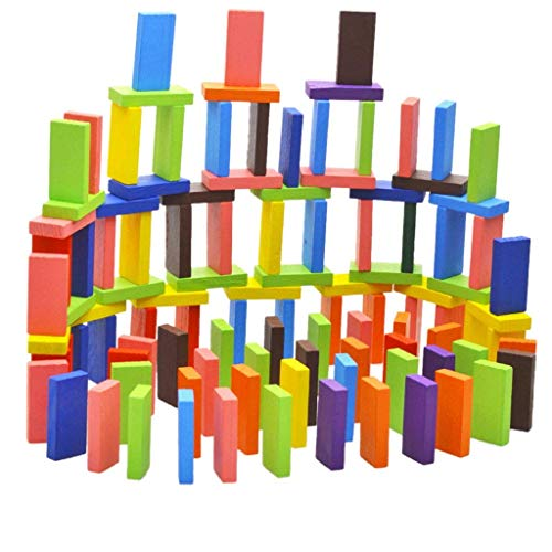Blossom 120 pcs Colorful Wooden Domino Set for Kids / Colourful Wooden Dominos Toy Indoor Educational Game