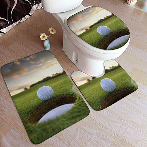 SXCVD Golf Course Fashion Bathroom Rug Mats Set 3 Piece Anti-Skid Pads Bath Mat + Contour + Toilet Lid Cover