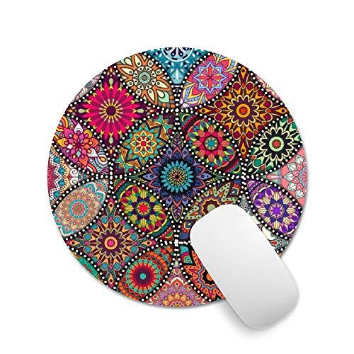 Alfombrilla de mouse Pricetail, con diseño de burbujas de colores con alfombrilla antideslizante para mouse, impermeable, alfombrilla de mouse para computadora portátil, 7,9 x 7,9 x 0,1 pulgadas, Mandala tribal de sol con encaje antiguo (Mandala sun lace tribal vintage), 7.9 x 7.9 x 0.1inch