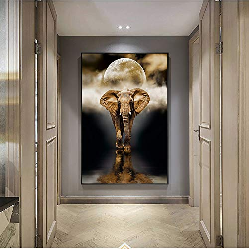 N / A Vintage Golden Elephant Oil Painting Mural Animal Poster Oil Painting On Canvas Living Room Decoration Home Frameless 50x70cm