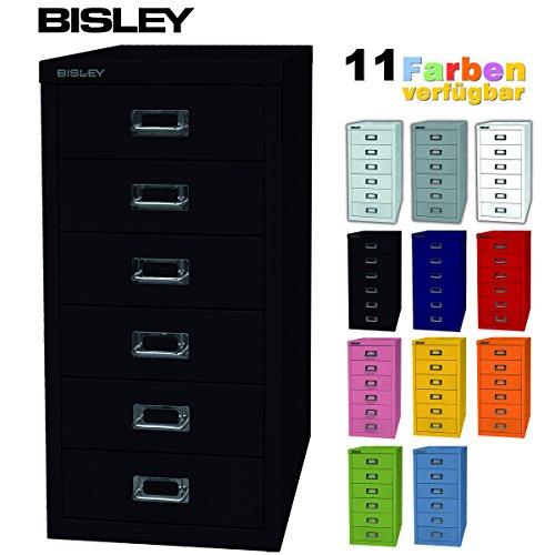 BISLEY ladekast 29 van metaal met 6 schuifladen, kast voor kantoor, werkplaats en thuis, stalen kast in 11 kleuren zwart