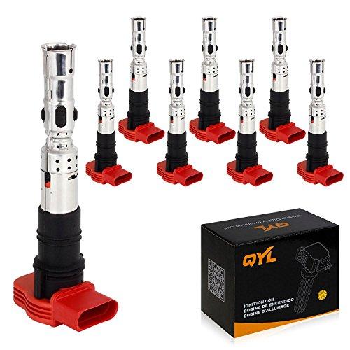 8Pcs Ignition Coil Pack Replacement for Volkswagen Touareg A8 Quattro A6 Quattro Allroad Quattro S4 V8 4.2L C1447 UF-418 UF418