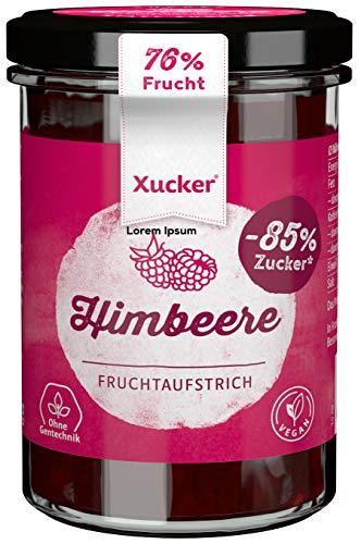 Xucker Fruchtaufstrich Himbeere mit Xylit 220g - Fruchtiger Brotaufstrich Himbeere mit 74% Fruchtgehalt I vegan & zuckerarm