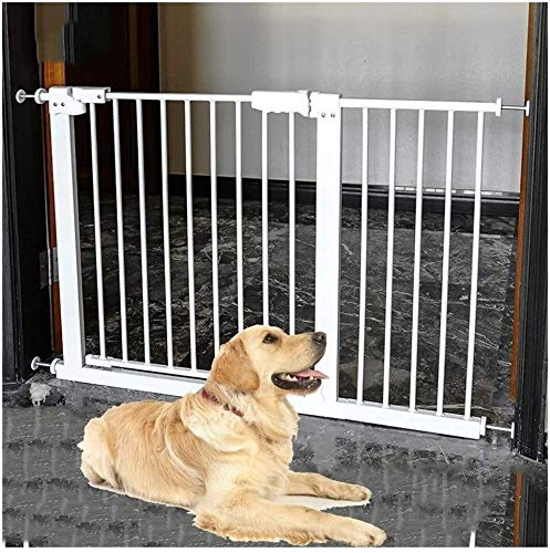 Guardrail Baby Gate Easy Opening 89.7-Inch Super Wide Walk Thru Baby Gate Bonus Kit Includes 4-Inch And 12-Inch Extension Kit 4 Pack Pressure Mount Kit And 4 Wall Cups And Mounting Kit Safety Fence