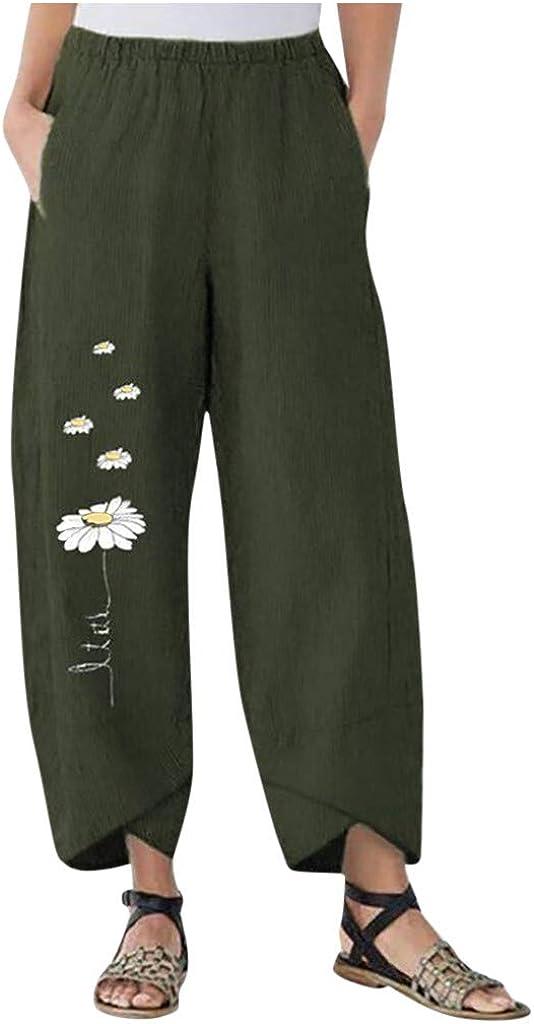 aihihe Womens Summer Casual Loose Cotton Linen Baggy Pants Daisy Print Wide Leg Capri Pants Trousers