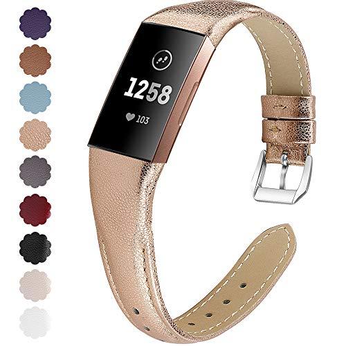 KIMILAR Armbänder Kompatibel mit Fitbit Charge 4 / Charge 3 Armband Leder,Ersatzband Zweifarbig Band Uhrenarmband für Charge 4/3/SE Fitness Tracker Damen Herren -Rosegold,S