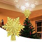 VOLADOR Weihnachtsbaumspitze Stern, Weihnachtsbaum Topper mit LED Projektor, Schneeflocke Form Weihnachtsbaum Top Projektor, Christbaumspitze LED Drehen Schneeflocke für Dekoration - Golden