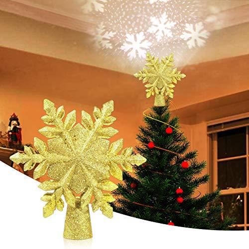 VOLADOR Albero di Natale Topper, Albero di Natale del Fiocco di Neve Topper, Albero di Neve Topper Luci di Proiezione Lampada a LED Rotante, Per La decorazione Natalizia - D'oro