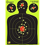 Splatterburst Targets - 18 x 24 inch - Silhouette Shooting Target - Shots Burst Bright Fluorescent Yellow Upon Impact - Gun - Rifle - Pistol - Airsoft - BB Gun - Air Rifle - Made in USA