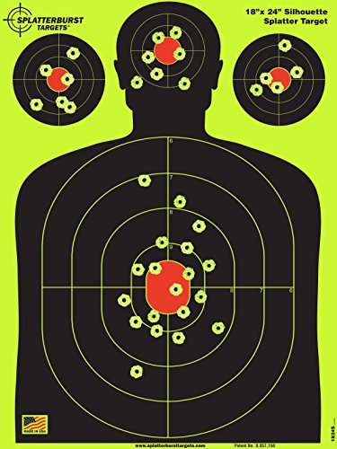 Splatterburst Targets - 18 x 24 inch - Silhouette Shooting Target - Shots Burst Bright Fluorescent Yellow Upon Impact - Gun - Rifle - Pistol - Airsoft - BB Gun - Air Rifle - Made in USA (25 Pack)