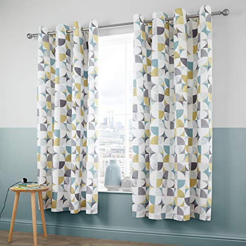 Catherine Lansfield Retro Circles Easy Care Eyelet Curtains Multi 66x72 Inch