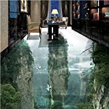 Humano país de las hadas pico acantilado sala de estar baño 3D piso personalizado gran fresco pvc impermeable grueso usable pasta de piso-150cmx120cm