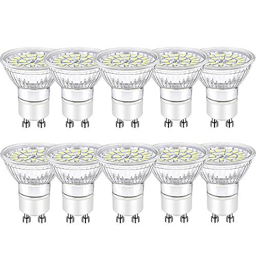Bombillas GU10 LED Blanco Frío, 5W Ojo de Buey Focos Led GU10 Equivalente a 50W Halógena AC 220-240V Bombubilla 10 Pack