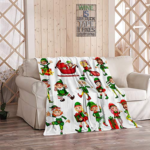 Amiiya Christmas Elves Flannel Throw Blanket, Christmas Elf in Positions Soft Lightweight Bedding Blanket for Bed Couch Sofa Camping 50 x 60 Inches