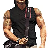 Camiseta sin mangas con capucha para hombre, diseño de culturismo y corte muscular, color negro