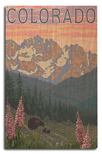Lantern Press Colorado - Bears and Spring Flowers (10x15 Wood Wall Sign, Wall Decor Ready to Hang)