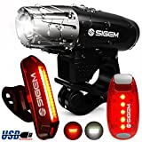 SIGEM Bike Light Set, (3 Pack) Ultra Bright, USB Rechargeable, LED Front Headlight, Rear Taillight and Helmet Light. Bicycle Head & Tail Lights are Waterproof, Easy to Install. (Bike Light Set C)