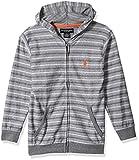 U.S. Polo Assn. Big Boys' Hooded Zip or Snap Fleece Jacket, Light Weight Stripes Medium Grey 10/12