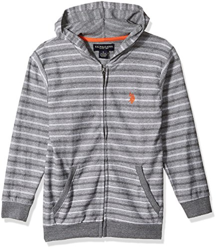 U.S. Polo Assn. Big Boys' Hooded Zip or Snap Fleece Jacket, Light Weight Stripes Medium Grey 10/12