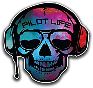 Pilot Life Skull Vinyl Decal Sticker   Cars Trucks Vans SUVs Walls Cups Laptops   5 Inch   Full Color Printed and Laminated   KCD2665