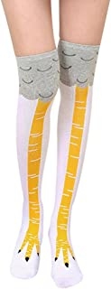Amiley Hot Sale Funny Women Girl Casual Chicken Creative Print Cartoon Thigh Socks Christmas