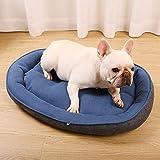 Cama para Mascotas, con una Alfombra Suave para Mascotas, Cama para Gatos Perros, Cama Suave de Felpa de tamaño Mediano -Caseta de Perro Ovalada Azul Marino_S: pequeño y Mediano