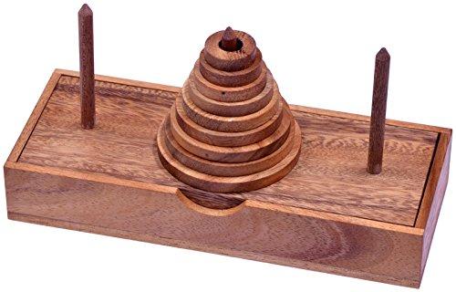 LOGOPLAY Pagoda - Turm von Hanoi - Denkspiel - Knobelspiel - Geduldspiel - Logikspiel mit 9 Scheiben aus Holz