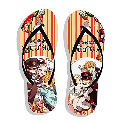 Saicowordist Unisex Cartoon Flip Flop Sandalen Anime bunt bedruckt Sommer Strand Hausschuhe Flip Flops Sandalen (Einheitsgröße, geeignet für Fußlänge 245-255 mm) Gr. Einheitsgröße, Hanako Kun