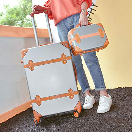 HLXB Vintage Hartschalenkoffer mit 4 Rollen,Rollkoffer Reisekoffer Kofferset Inklusive Gepäck Trolley und Beautycase, Geräuschlos, 360 ° Drehbar, mit Schloss